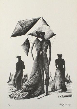 Lithographie Zimmermann - Paar mit Himmelskörpern