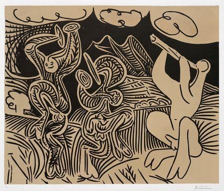 Linogravure Picasso - Pablo Picasso Danseurs et musicien (Dancers and musician), 1959