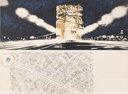 Lithographie Christo - PACKED BUILDING PROJECT FOR THE ARC DE TRIOMPHE PARIS