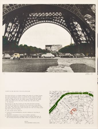 Lithographie Christo - PACKED BUILDING PROJECT FOR THE ECOLE MILITAIRE PARIS