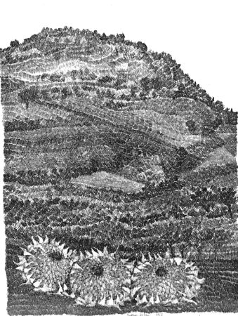 Eau-Forte Gulino - Paesaggio con girasoli
