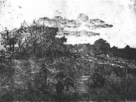 Eau-Forte Fattori - Paese al tramonto (con guardiani di porci)