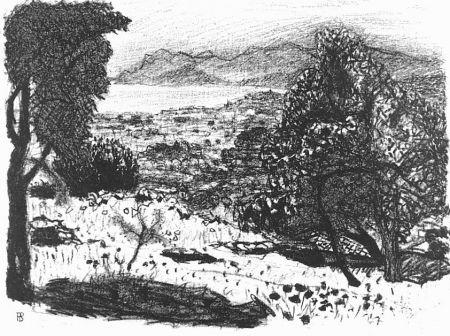 Lithographie Bonnard - Paisage du midi