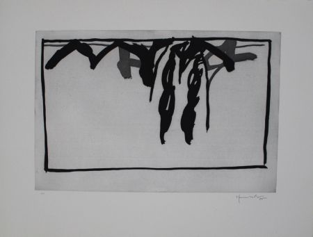 Aquatinte Hernandez Pijuan - Paisatge amb xiprers III / Landscape with Cypresses III