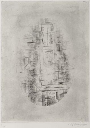 Gravure Braque - Pal (Bouteille de bass et Verre sur une table)