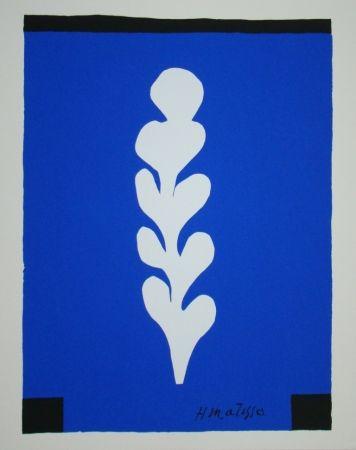 Sérigraphie Matisse - Palme sur fond bleu