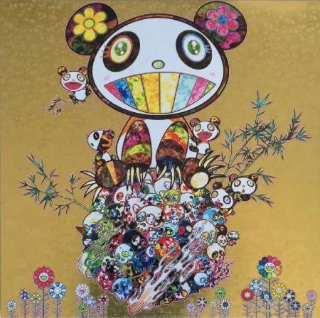 Lithographie Murakami - Panda Family Gold