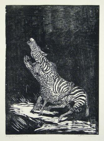 Gravure Sur Bois Klemm - Panther und Zebra