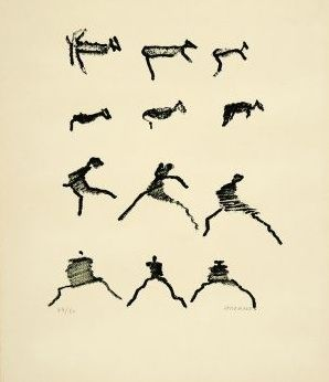 Lithographie Michaux - Par la voie des rythmes, planche IV