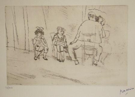 Gravure Pascin - Parents et enfants