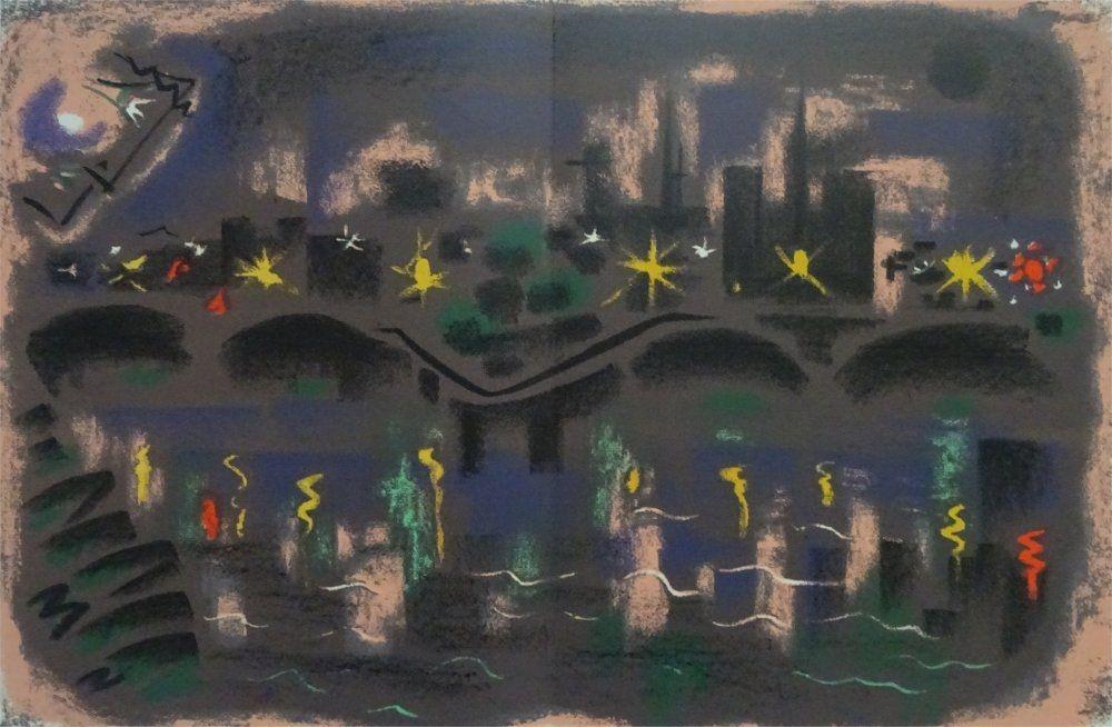 Lithographie Masson - Paris at night