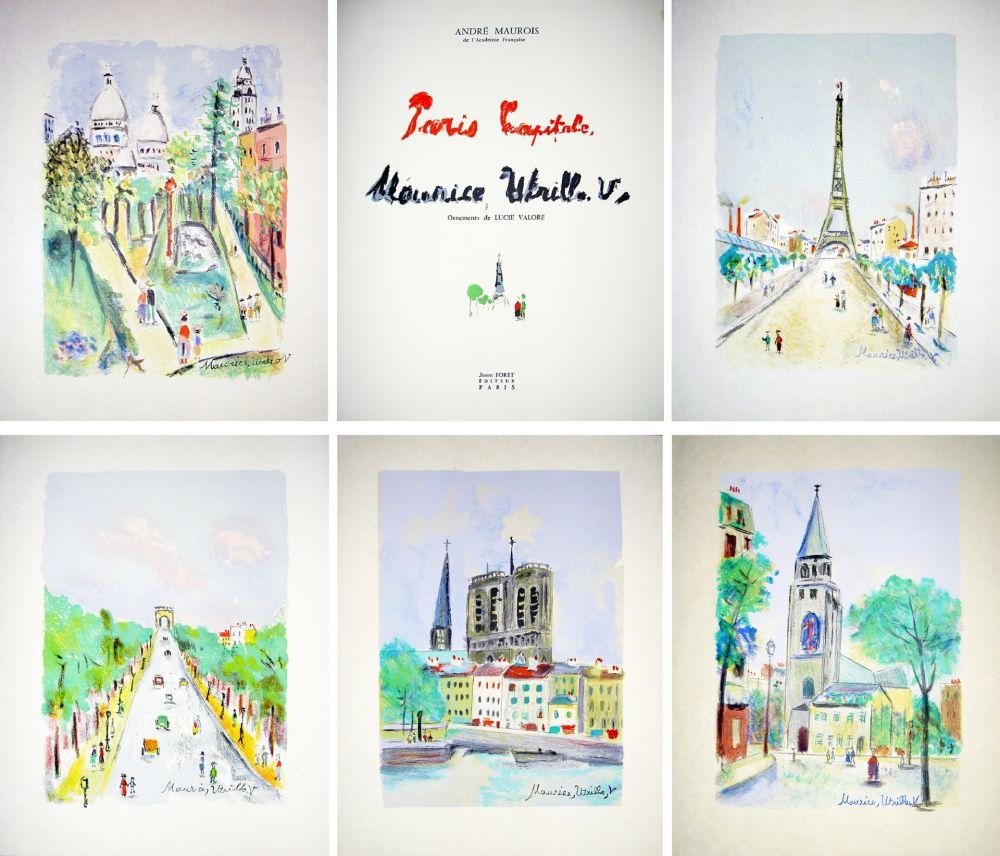 Livre Illustré Utrillo - PARIS CAPITALE. Lithographies de Maurice Utrillo, V. Exemplaire signé avec suite sur Japon (1955).