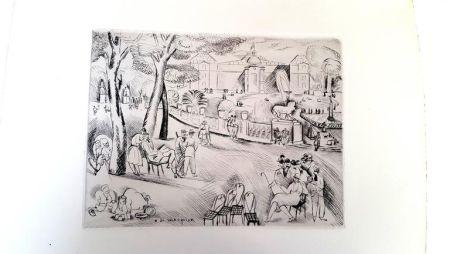 Lithographie Waroquier - Paris Jardin du Luxembourg