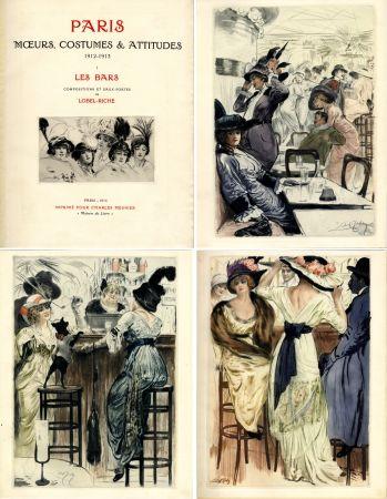 Livre Illustré Lobel-Riche - PARIS. MŒURS, COSTUMES ET ATTITUDES, 1912-1913. LES BARS (M. Guillemot).