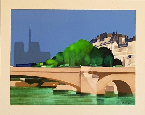 Lithographie Defossez - Paris  Pont de la Tournelle
