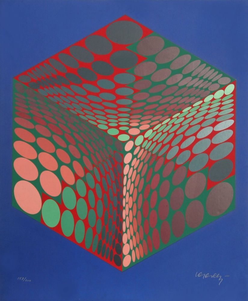 Sérigraphie Vasarely - Parmenide (Red, Green, & Blue)