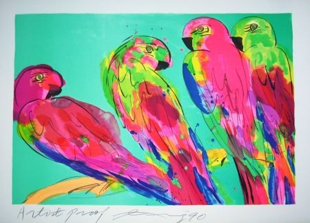 Lithographie Ting - Parrots