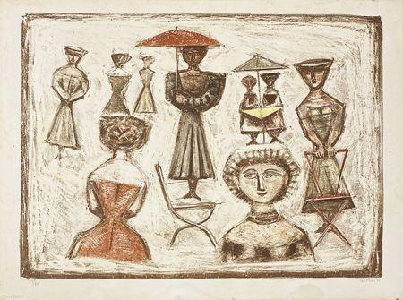 Lithographie Campigli - Passeggiata Romana