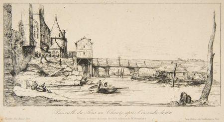 Gravure Meryon - Passerelle du Pont-au-Change, Paris, après l'incendie de 1621