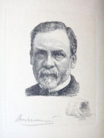 Gravure Bracquemond - Pasteur et les pastoriens.  Avec un portrait à l'eau-forte par Bracquemond