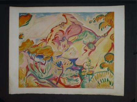 Lithographie Friesz - Paysage à La Ciotat (la pointe du Capucin)