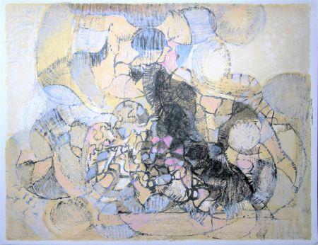 Lithographie Bolin - Paysage à la lumière grise et rose