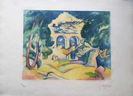 Aquatinte Braque - Paysage à l'Estaque (Le Viaduc de l'Estaque)