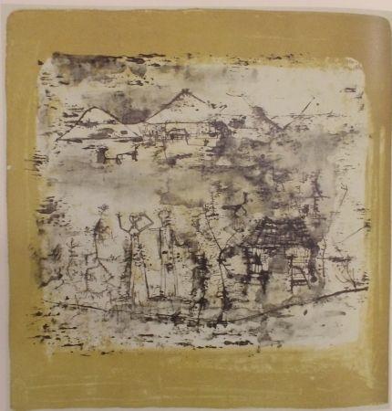 Lithographie Zao - Paysage à l'homme les mains levées
