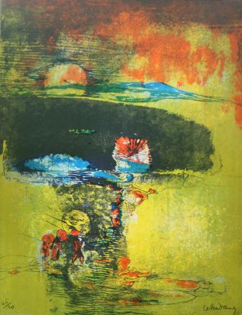 Lithographie Lebadang - Paysage a la Jonque