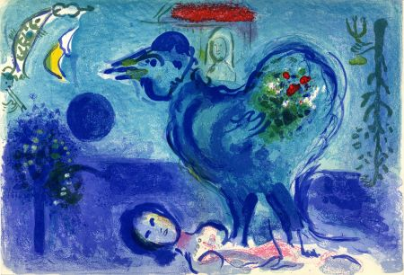 Lithographie Chagall - PAYSAGE AU COQ (Landscape with rooster) 1958.