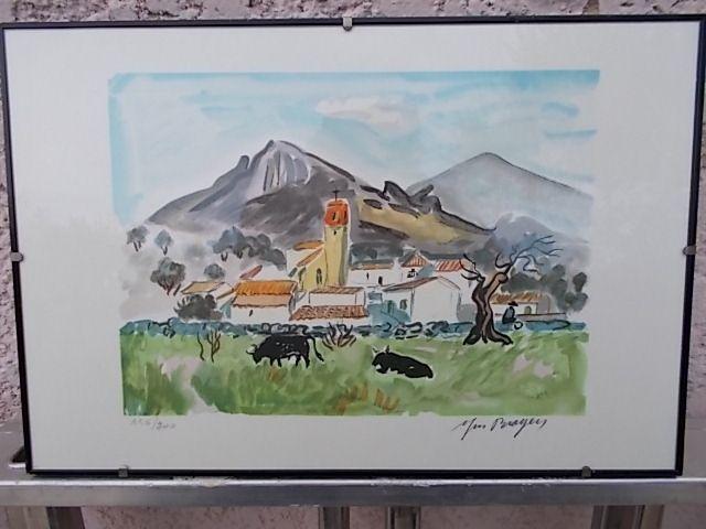 Lithographie Brayer - Paysage de Camargue