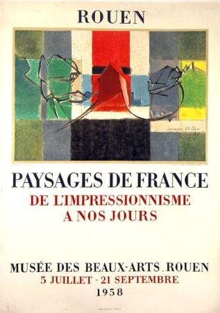Lithographie Villon -  Paysage de France  Rouen