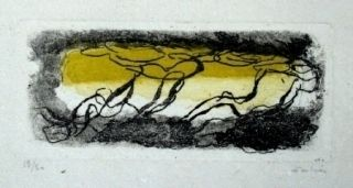 Eau-Forte Et Aquatinte Fautrier - Paysage jaune et violet