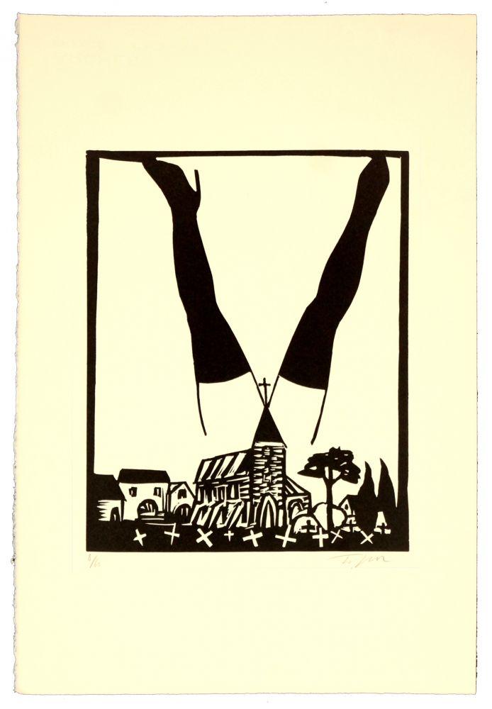 Lithographie Topor - Paysage polonais