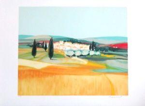 Lithographie Hemeret  - Paysage sous le soleil