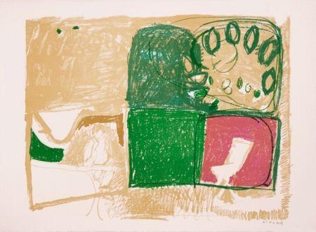 Lithographie Kimura - Paysage vert et violet
