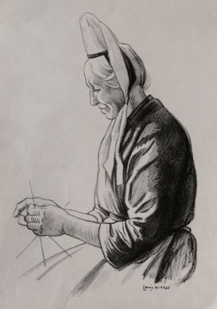 Lithographie Moreau - PAYSANNE BRETONNE / BRITTANY FARMER - France 1908