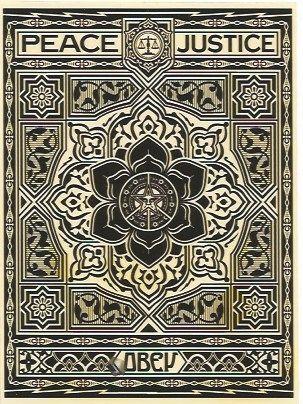 Sérigraphie Fairey - Peace and Justice Ornament (Black)