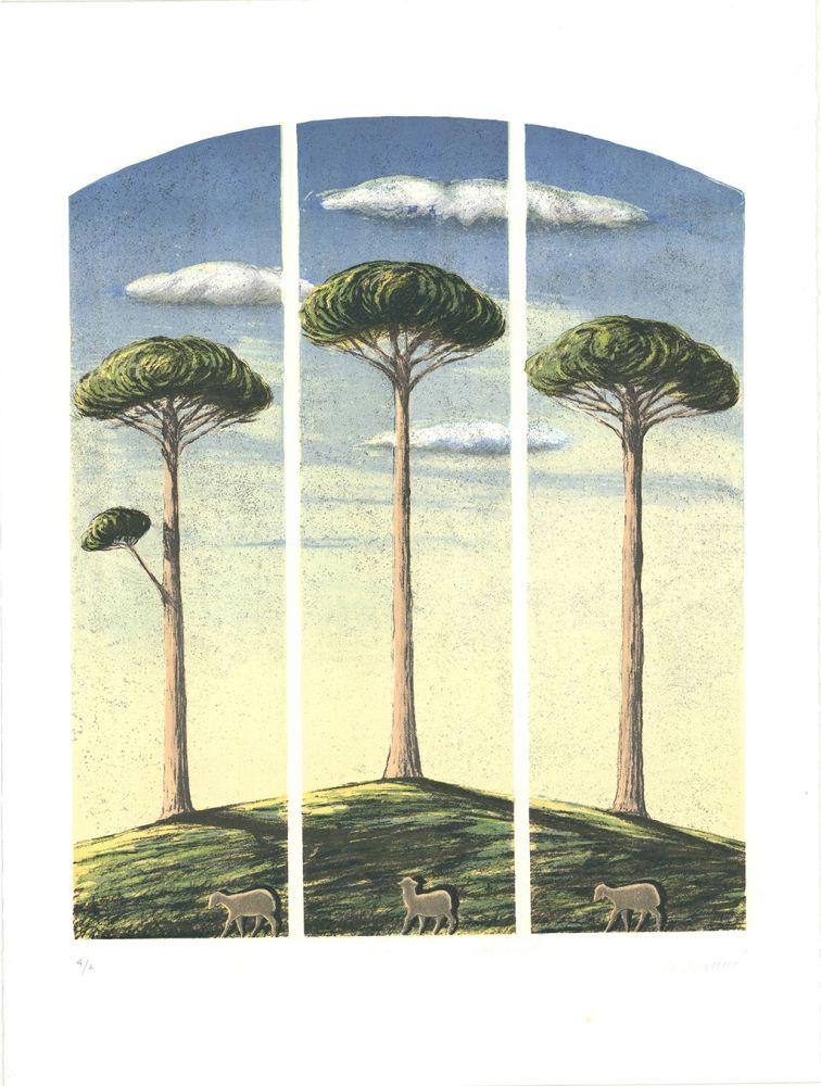 Lithographie Lazzeri - Pecore al albero