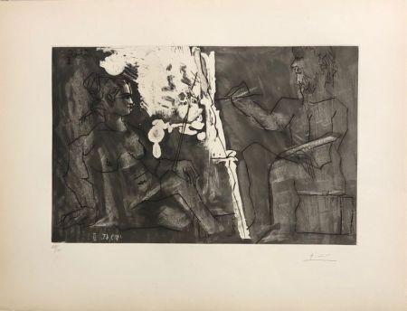 Aquatinte Picasso - Peintre à son chevalet, avec un modèle assis