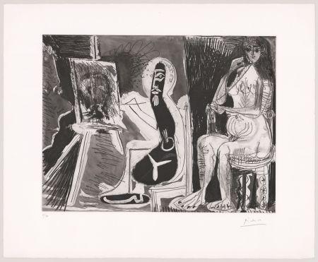 Eau-Forte Et Aquatinte Picasso - Peintre avec le portrait d'un jeune garçon, dans son atelier.