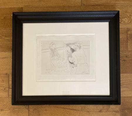 Gravure Picasso - Peintre Chauve devant son Chevalet