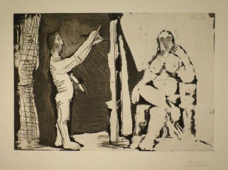 Eau-Forte Et Aquatinte Picasso - Peintre debout et modèle
