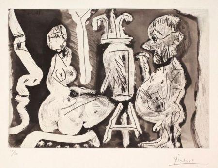 Eau-Forte Et Aquatinte Picasso - Peintre et modèle avec spectateur