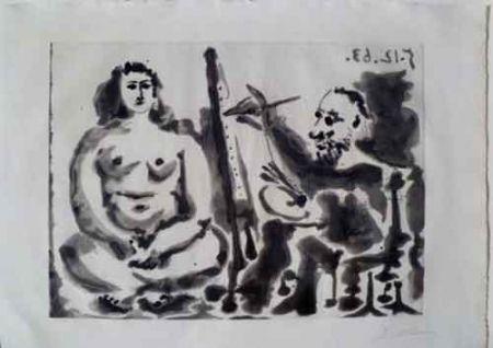 Aquatinte Picasso - Peintre Et Modèle IV