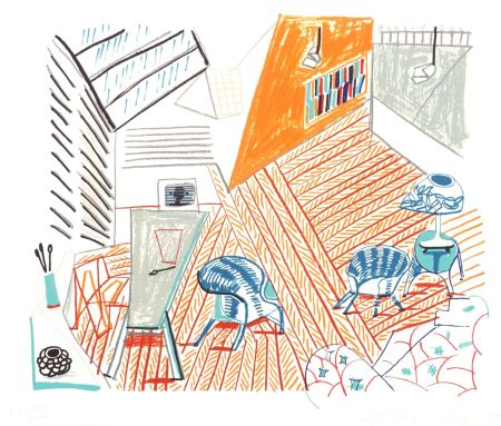 Lithographie Hockney - Pembroke Studio With Blue Chairs And Lamp