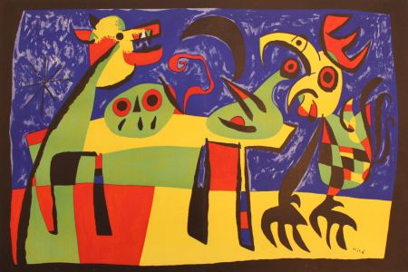 Lithographie Miró - PERRO LADRANDO A LA LUNA