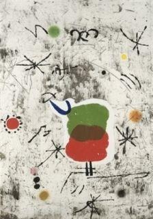 Eau-Forte Et Aquatinte Miró - Personatge I Estels I