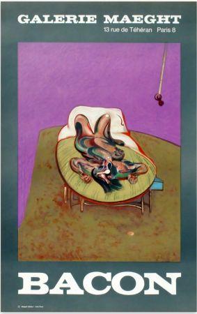 Lithographie Bacon - PERSONNAGE COUCHÉ. Affiche en lithographie (1966).