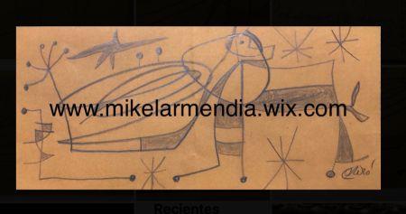 Aucune Technique Miró - Personnage dans un paysage